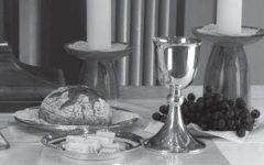 Symboldarstellung des Abendmahls mit Brot und Weinkelch